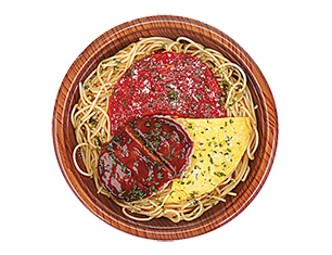 ハンバーグとピリ辛トマトソース