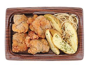 鶏唐揚げとポテト(にんにく醤油仕立て)