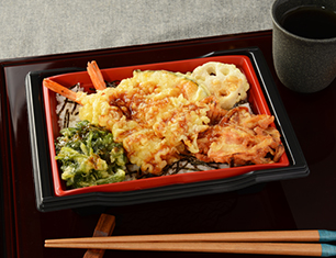 季節野菜と海老の天重 春菊・小えびのかき揚入