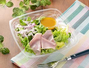 すりおろし野菜ドレで食べるグリーンサラダ