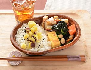 さつまいもご飯と鶏の柚子胡椒焼