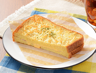 フレンチトースト(ハムチーズ)~ブラン入り食パン使用~