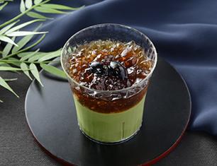 黒蜜ジュレと丹波黒豆の宇治抹茶プリン