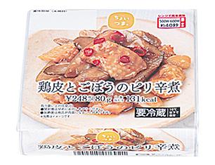 鶏皮とごぼうのピリ辛煮
