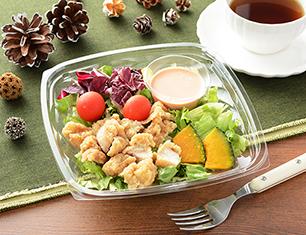 鶏から揚げと彩り野菜のサラダ