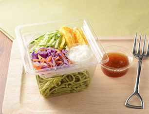 とろろ芋と野菜のほうれんそう麺サラダ