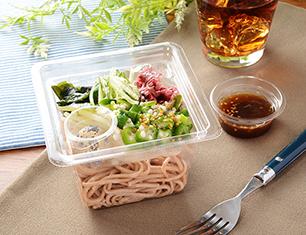 オクラと海藻の全粒粉麺サラダ