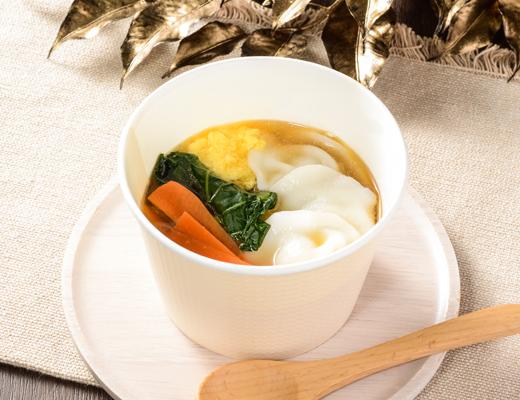 つるもち餃子!ごま油香る中華スープ