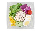 玉子と蒸し鶏の彩り野菜サラダ