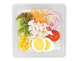 玉子と蒸し鶏の生野菜サラダ